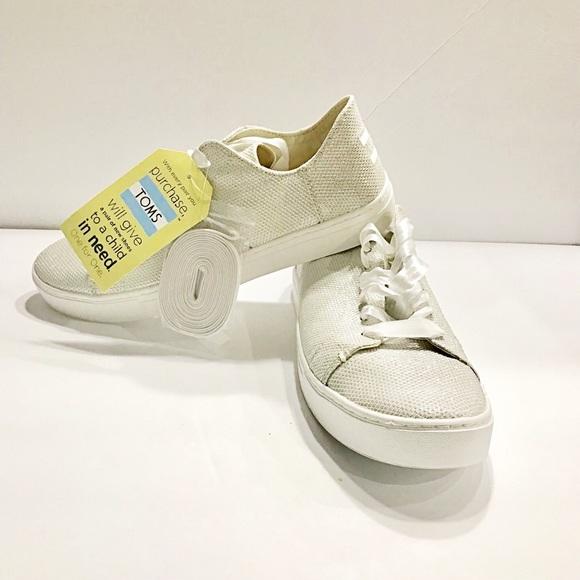 5109fa21f TOMS Shoes | Wmn Lenox Ivory Glitter Mesh Sliverwhite | Poshmark